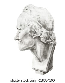 Drawing of Voltaire's plaster head. Head of Voltaire in profile.  Gypsum sculpture of the philosopher Voltaire