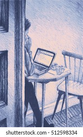 Drawing of woman working on a laptop in a cafe. llustration