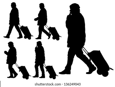 drawing of a women with travel bag