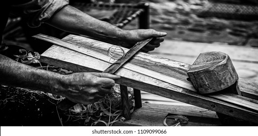 Drawing wood chip of artisan form, detail of trough working with wood