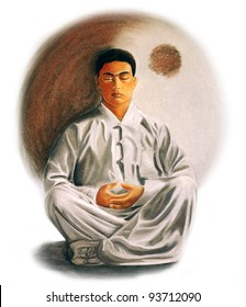 drawing of a young man practicing zen meditation