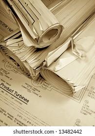 Drawings, blueprints, architect, project, plans
