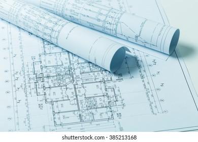 Drawings, blueprints close up