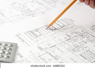 drawings of building homes and Tools with pen
