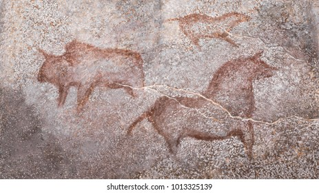 drawings in a cave of ancient animals. Stone Age. Archeology. ancient man