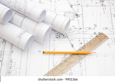 constructor drawings at engineer`s workplace
