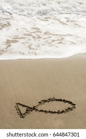 Drawings on sand.