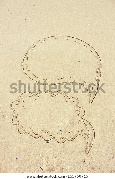 Drawings Sand Thoughtclouds Image Empty Space Stock Photo Edit