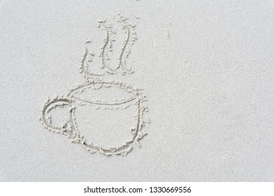 Drawn cup of coffee  on white sand beach background