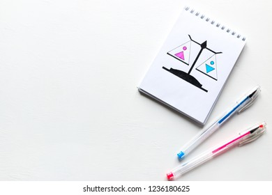 drawn equality on the scales of a man and a woman. gender equality. with place for text on white background