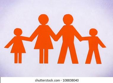 Drawn family orange isolated on a white background.