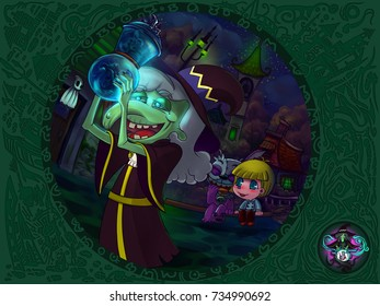Drawn Halloween story which tells a story of a little cute monster who has to capture emotions for his witch. Perfect for a picture book or slide show for kids.