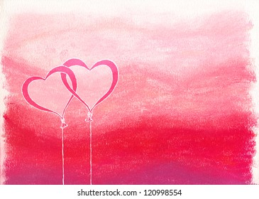 Drawn heart shaped balloons over pink & red chalk pastel background
