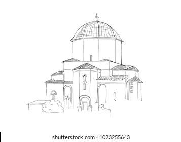 ?and drawn sketch illustration of Landmark Georgia Jvari Monastery isolated on white