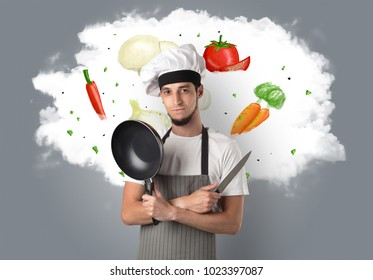 Drawn vegetables on cloud with male cook and kitchen tools
