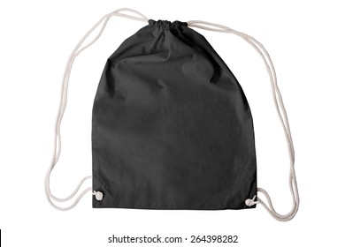 Drawstring pack template classic black isolated on white with clipping path