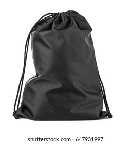 Drawstring pack template classic black isolated on white