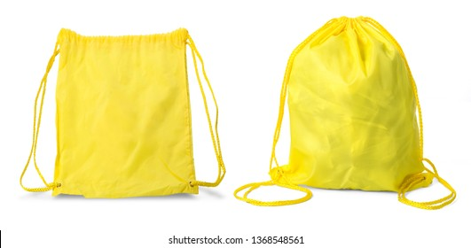 Drawstring pack template classic yellow isolated on white