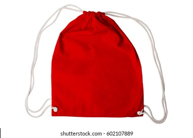 Drawstring pack template red isolated on white with clipping path