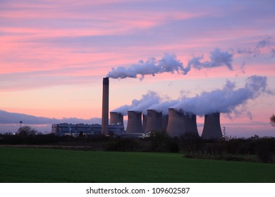Drax Power Station at sunset, Selby North Yorkshire England