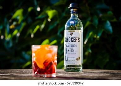 DRAZOVICE - JUNE 24: Bottle of Broker's gin and negroni cocktail on June 24, 2016 in Drazovice, Czech Republic. The distillery where Broker's Gin is made is over 200 years old.