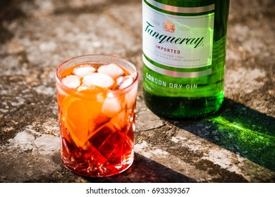 DRAZOVICE - JUNE 24: Bottle of Tanqueray gin and negroni cocktail on June 24, 2016 in Drazovice, Czech Republic. Tanqueray is a brand of gin produced by Diageo plc.