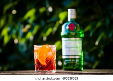 DRAZOVICE - JUNE 24: Negroni cocktail in crystal cut glass and a bottle of gin on June 24, 2016 in Drazovice, Czech Republic. The cocktail is made of gin, sweet vermouth, and Campari.