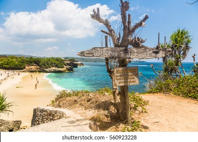 Dream beach in Nusa Lembongan island, right of the coast of Bali in Indonesia. The island is much less developed than Bali.