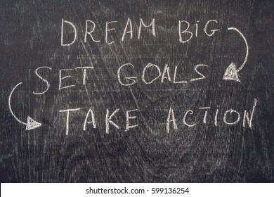 Dream Big - Set Goal - Take Action, handwriting on On a chalk board.