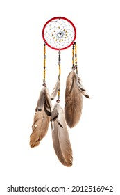 Dream catcher made with your own hands, handmade, isolated on a white background, amulet, traditional decoration