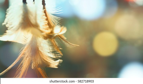 Dream catcher native american in the wind and blurred bright light background, hope and dream concept