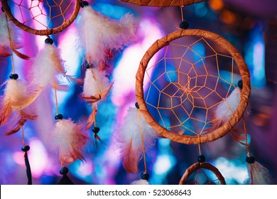 Dream catcher  on the bright multicolored background