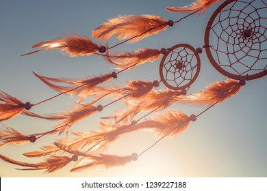Dream catcher sunset boho chic, ethnic amulet,symbol.