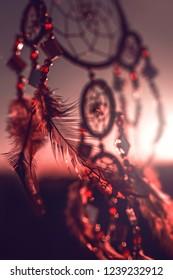 Dream catcher sunset, boho chic, ethnic amulet,symbol.