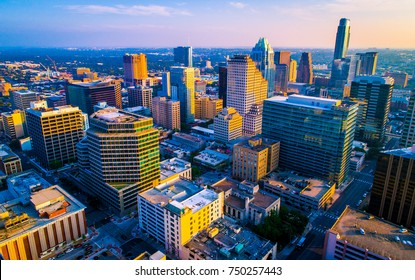 Dream city of America as sunset paints colors across the growing skyline Cityscape of Austin , texas , USA aerial drone view above downtown skyscrapers