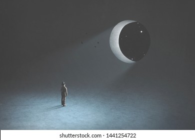 dream and fantasy, man observing the moon in the night that is a hole in the blue dark sky, surreal concept
