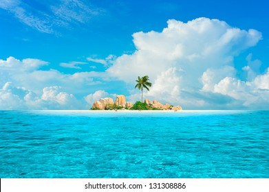 Dream Island. Amazing exotic paradise with palm three, fantasy beach, turquoise water and blue sky