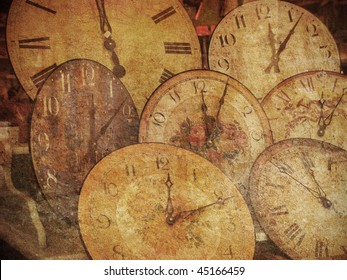 Dream of the old clocks. Several of my photos worked together to make a retro - dreamlike look.
