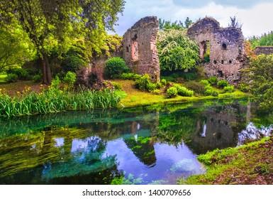dream river enchanted castle ruins garden fairy tale nymph garden .