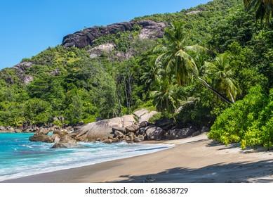 Dream Seascape Coast - Sunny day on fantastic wild Anse Major beach, Mahe island, Seychelles. Summer holiday concept.