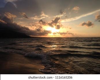Dream sunset from Malia beach on the Greek island of Crete