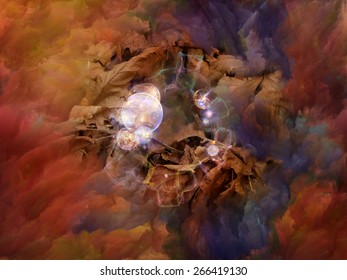 Dream Surface series. Backdrop of Colorful fractal clouds and graphic elements on the subject of dreams, spirituality and imagination