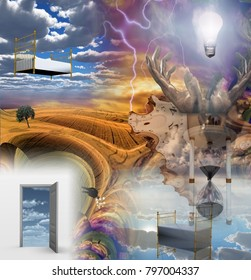 Dream Surrreal Composition. Fractal dimensions. 3D rendering