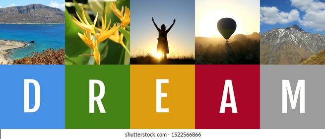Dream and travel motivation collage. Vertical photos. Travel agency format.