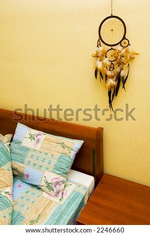 Dreamcatcher Above Bed Copyspace Stock Photo Edit Now 40 Fascinating Dream Catcher Over Bed