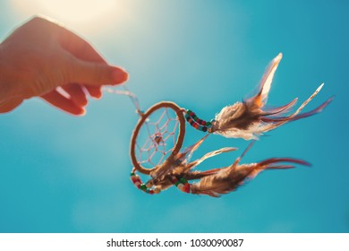 Dreamcatcher in the air , boho chic, american ethnic amulet,symbol