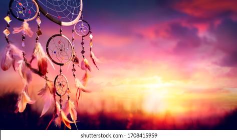 Dreamcatcher - Native American Decoration At Sunset