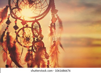 Dreamcatcher sunset , boho chic, ethnic amulet.