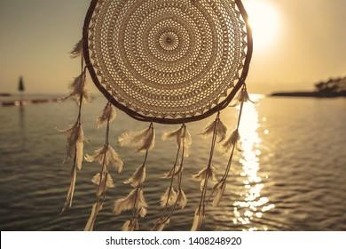 Dreamcatcher sunset , calm ocean, boho chic, ethnic amulet,symbol