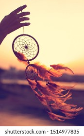 Dreamcatcher sunset , the mountains, boho chic, ethnic amulet,symbol.